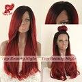 2017 Новая мода стиль 1b & красный естественная прямая парики синтетический парик передние парики glueless кружева передние парики для чернокожих женщин на складе