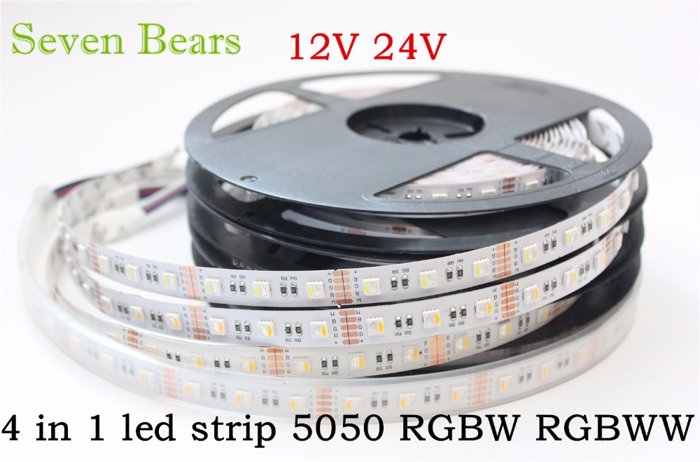 5m RGBW RGBWW 5050 Led Strip Light DC 12V 24V 4 en 1 Led Chip Impermeable No impermeable 60led / m interior decoración del hogar al aire libre