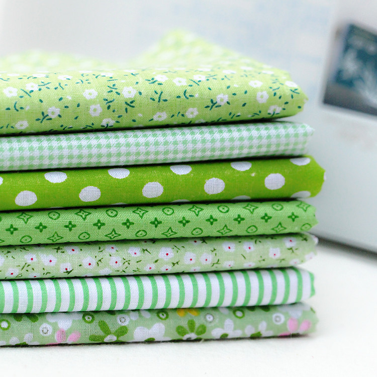 7pcs/lot Kids Cotton Fabric Patchwork Cloth DIY Sewing Quilting Fat Quarters Material For Baby&Child  25x25cm Green Series Fabri