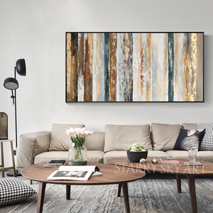 Image 2 - New Arrivals Hand painted Contemporary Wall Art Golden Abstract Oil Painting on Canvas Interior Design Art Golden Oil Painting