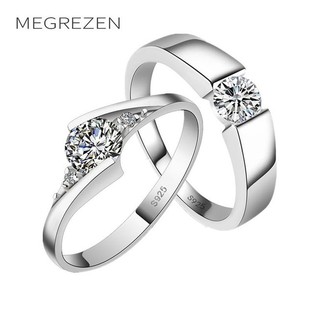 Megrezen Paired Wedding Rings For Two Vintage Silver Plated Ring Costume Jewelry Anillos Para Las