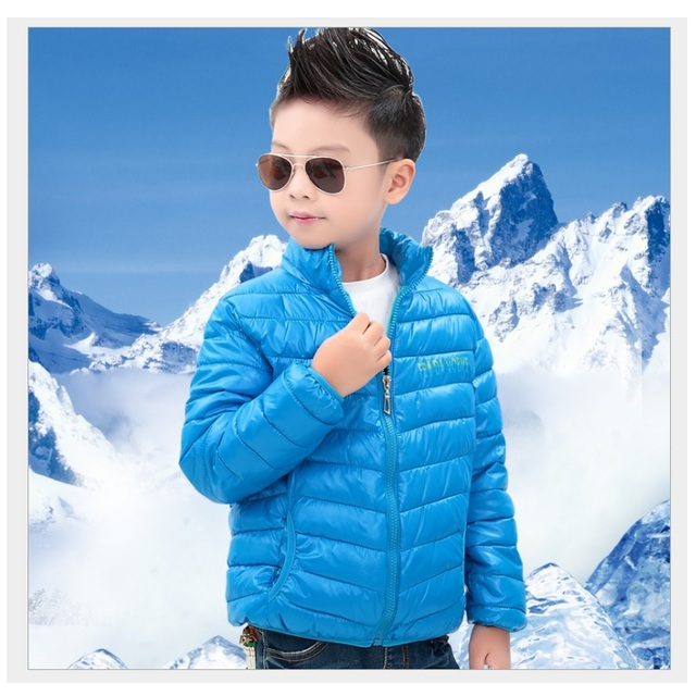 388f32302 Solid Blue Boy Down Coats Outfits Children Winter Jacket Infant Coats ...