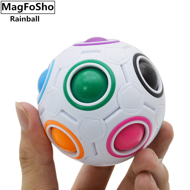 купить Fun Creative Spherical Speed Rainbow Puzzles Ball Football Educational anti-stress Puzzle Toys Montessori Toy for Children Adult по цене 316.5 рублей
