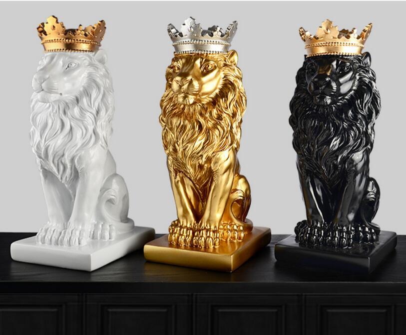 Or couronne lion statue artisanat décorations décorations de noël pour la maison sculpture escultura accessoires de décoration de la maison