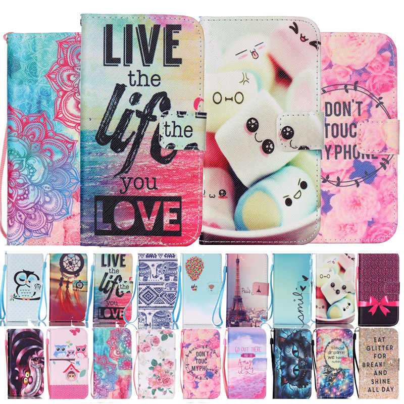 Luxury Fashion Pattern Flower Owl Pattern Wallet PU Flip Case for Apple iPhone 4 4S 5 5S SE 5C i6 6 6S 7 Plus 8Plus Cover Fundas