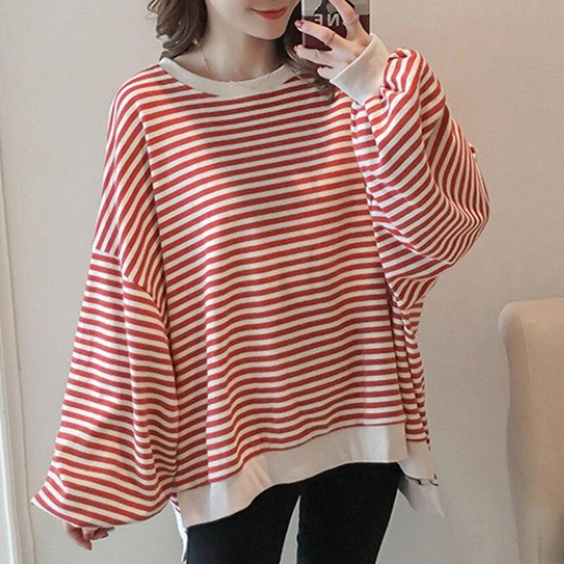 Fashion Straipe Autumn Maternity Sweatshirt Korean Casual Loose Irregular Hem Pregnancy Sweatshirt Clothes for Pregnant Women in Hoodies from Mother Kids