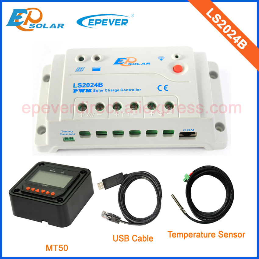 home use 20amp 20A Regulator solar panels Battery Charge Controller with black MT50 USB cable and temperature sensor PWM LS1024B 20a 12 24v solar regulator with remote meter for duo battery charging