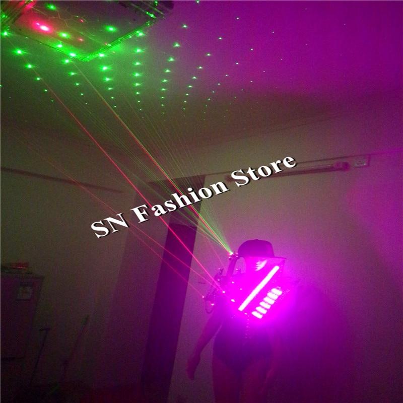 GG22 다채로운 LED 라이트 의상 옷감 볼룸 댄스 녹색 빨간색 레이저 조끼 드레스 바 파티 DJ 디스코 자동차 모델 섹시한 코스프레 착용
