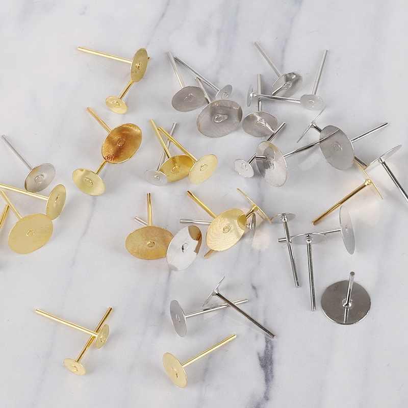 100 יח'\אריזה Dia 4 6 8mm * 12mm זהב/רודיום צבע Stud עגיל Spacer עם עגיל Plug ממצאי עגיל בחזרה עבור תכשיטי ביצוע