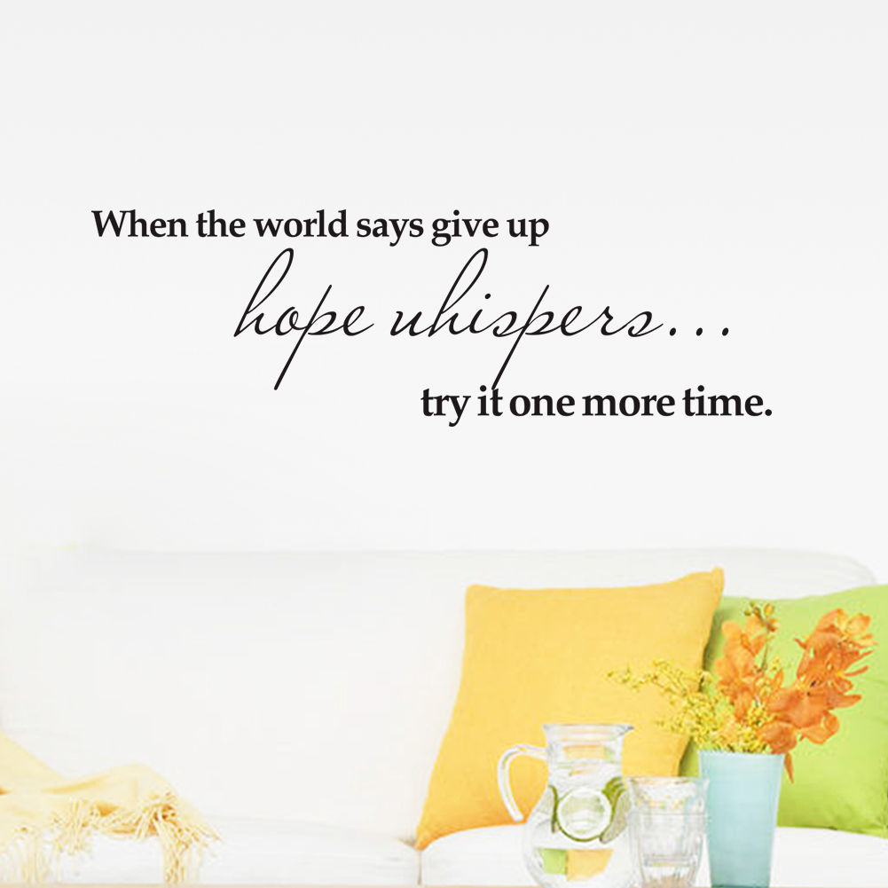 Hot Gczw Hope Try Home Pvc Wall Sticker Decal Words Quote Lettering