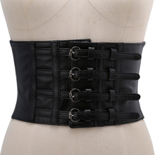New women ultra wide adjustable slim body corset belt black PU leather retro design comfortable elastic belts 2 way close