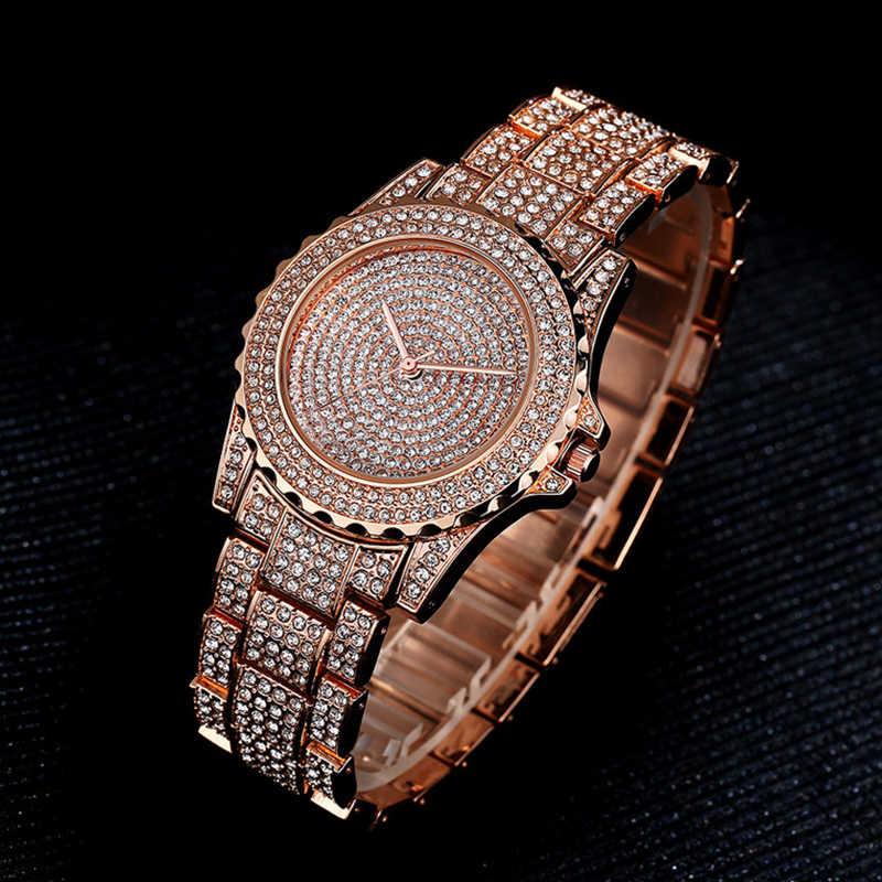 Femmes montre à Quartz mode Bling décontracté dames montre femme Quartz or montre cristal diamant pour les femmes horloge
