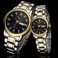 Amantes Casal Relógios Dos Homens Top Marca de Luxo Data Dia Relógio À Prova D' Água Mulheres Ouro Aço Inoxidável Quartz Relógio de Pulso Montre Homme
