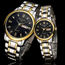Top Marca de Lujo de Los Amantes Pareja Relojes Hombres Fecha Día Impermeable Mujeres Del Reloj de Oro de Cuarzo de Acero Inoxidable Reloj Montre Homme