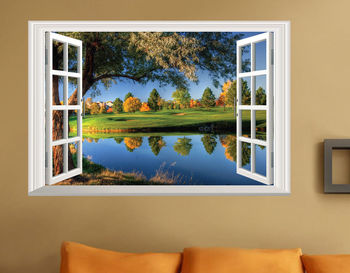 3D Wonder Window Scenery Fashion Nature Landscape Blue Lake Water View Wall Sticker