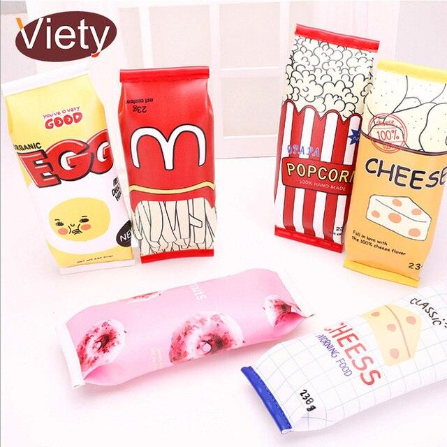 Envasado de alimentos de Galletas Macaron kawaii caja de lápiz de LA PU de cuero bolsa de lápiz de la escuela para la muchacha papelería estojo escolar escolares