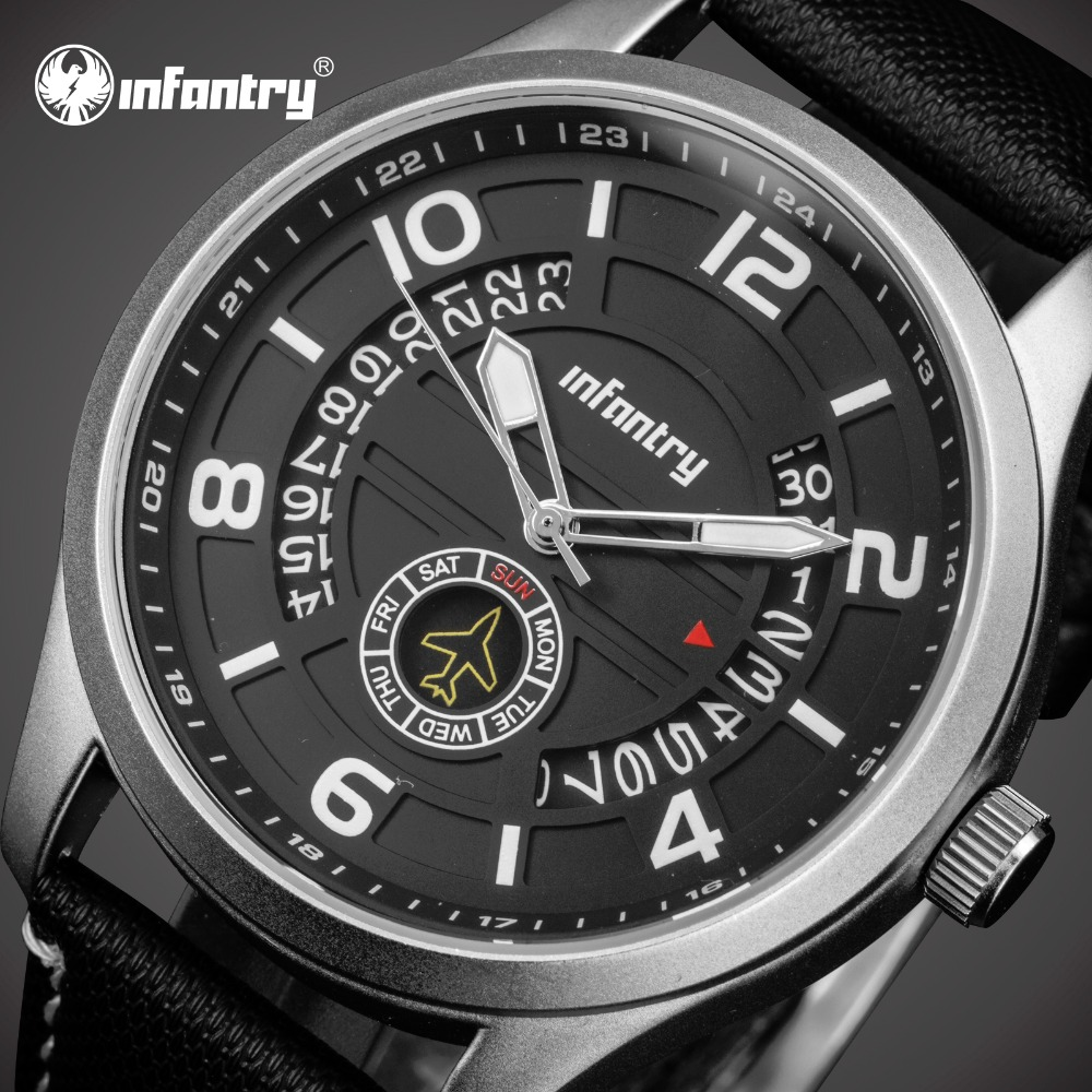 INFANTRY Men Watch Fashion Date Day Display Top Brand Luxury Luminous Quartz Watch Reloj Hombre Male Clock Relogio Masculino new watch men auto date business fashion quartz men watch top brand wristwatch male reloj hombre orologio uomo relogio masculino
