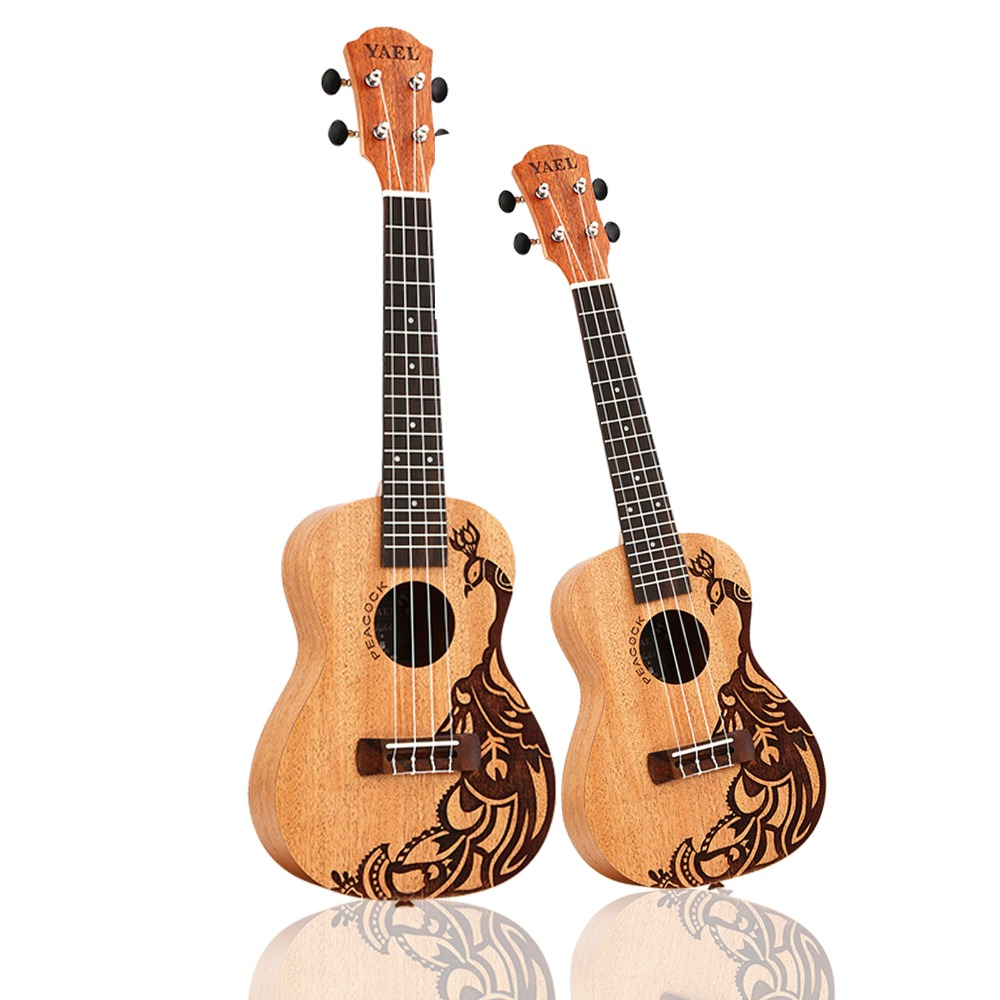 23 inch /21 inch Ukulele Concert 4 Strings Musical Instruments 18 Frets Mahogany Peacock Choose