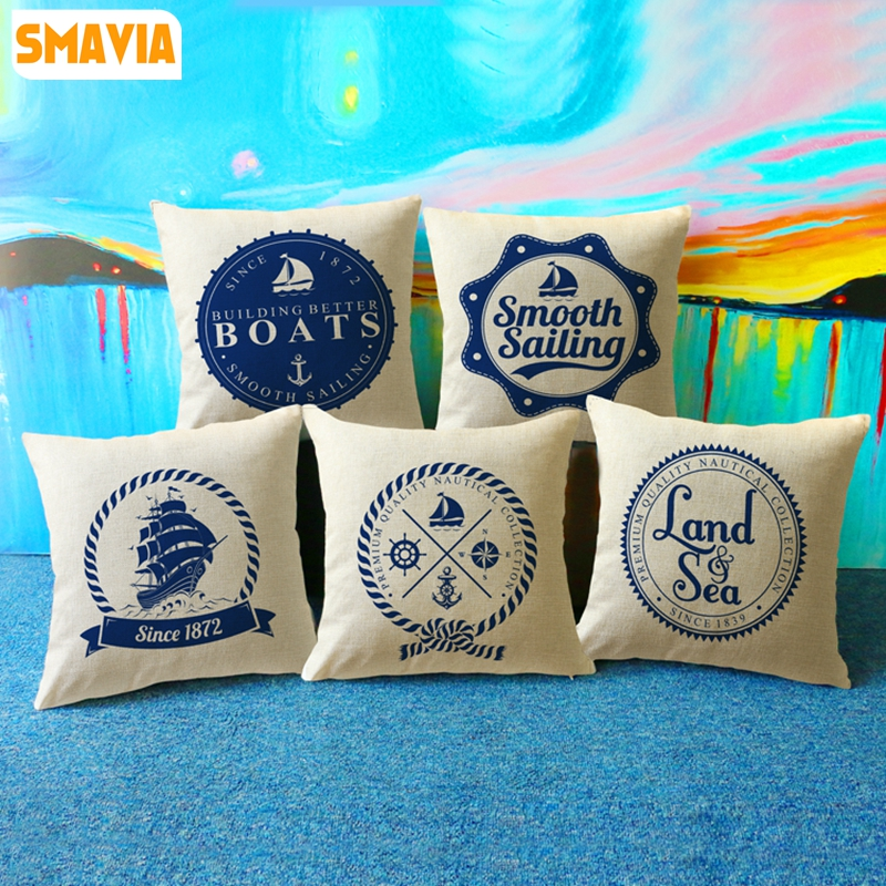 SMAVIA Boats Sailing Travel Pillow Towel Chair/Bed/Seat Pillowcase Polyester Square Throw Pillow Covers Home Textile