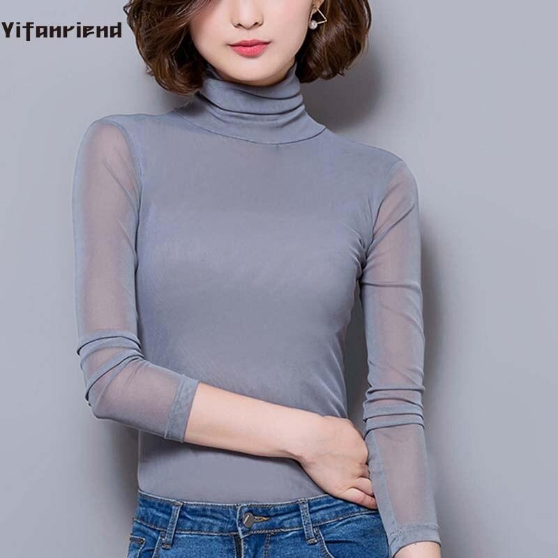 964d7a2d4a2 Sexy Mesh Top Women T shirt 2018 Solid Long Sleeve Turtleneck Ladies  Bottoming T-Shirt