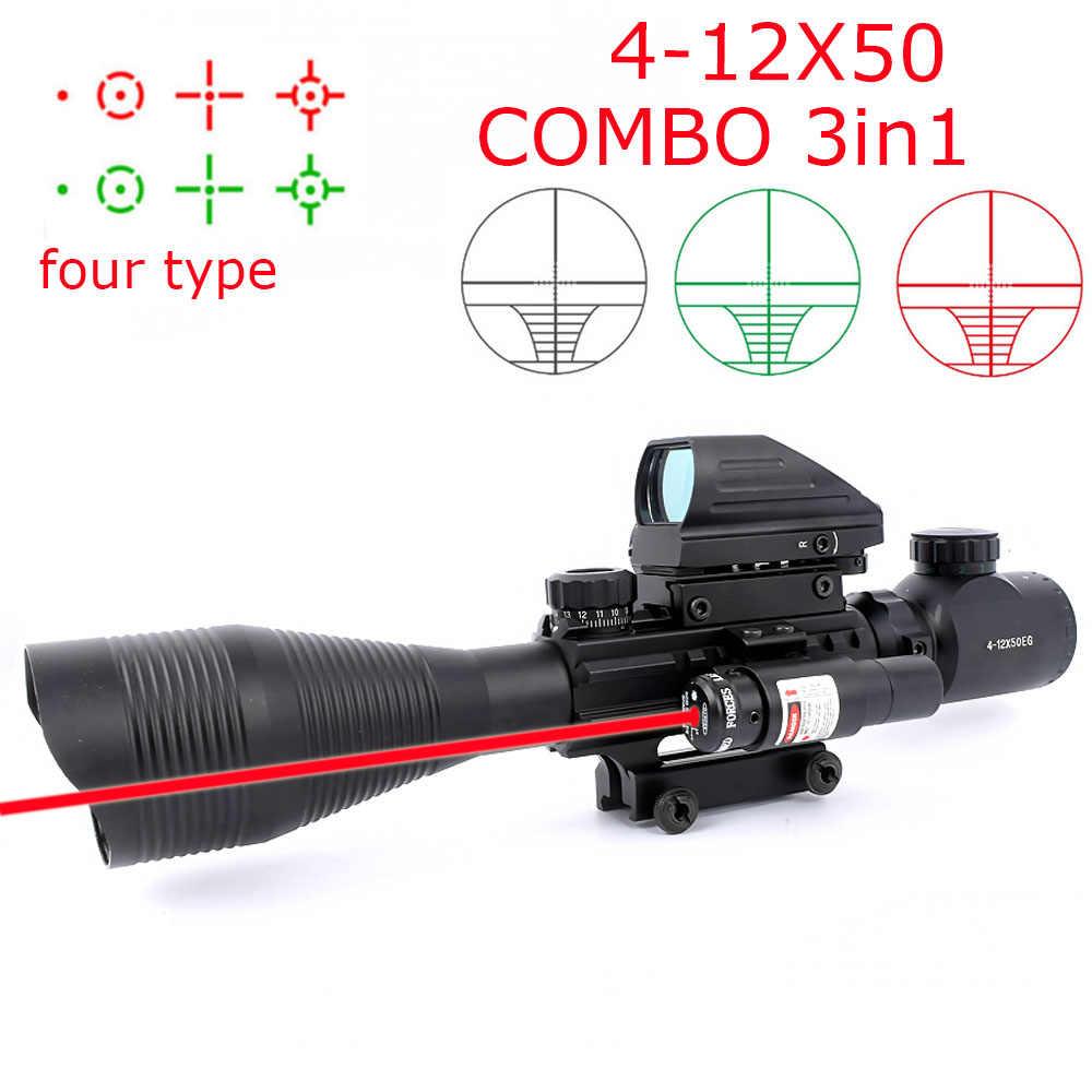 Jacht Airsofts Riflescope 4-12X50EG Tactical Air Gun Rood Groen Dot Laser Sight Scope Holografische Optics Rifle Scope