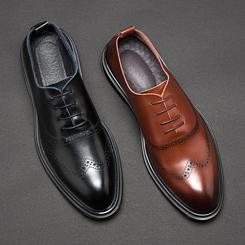Fashion Brogue Shoes Men Footwear Soft Leather Casual Mens Shoes British Style Brand Male Business Shoes Black Brown KA1415