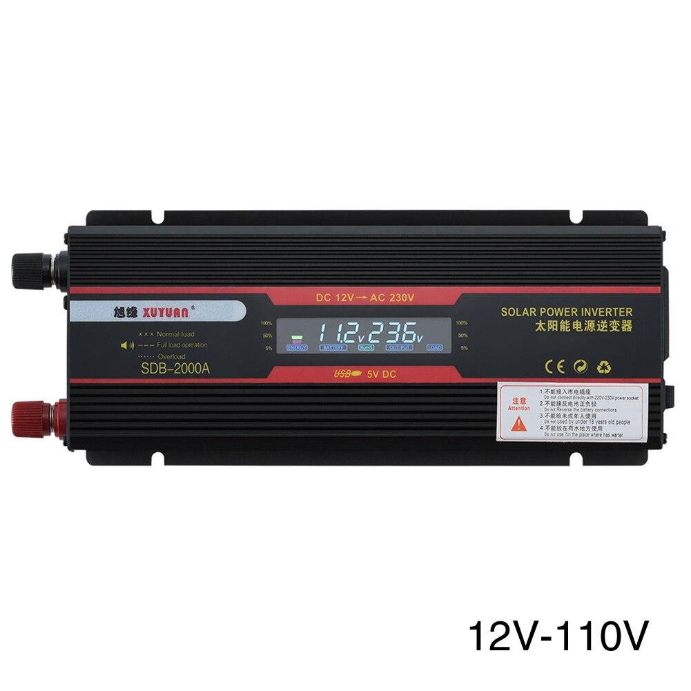 6000W convertisseur noir LCD affichage universel prise camions indicateur lampe à onde sinusoïdale modifiée USB voiture onduleur transformateur de puissance