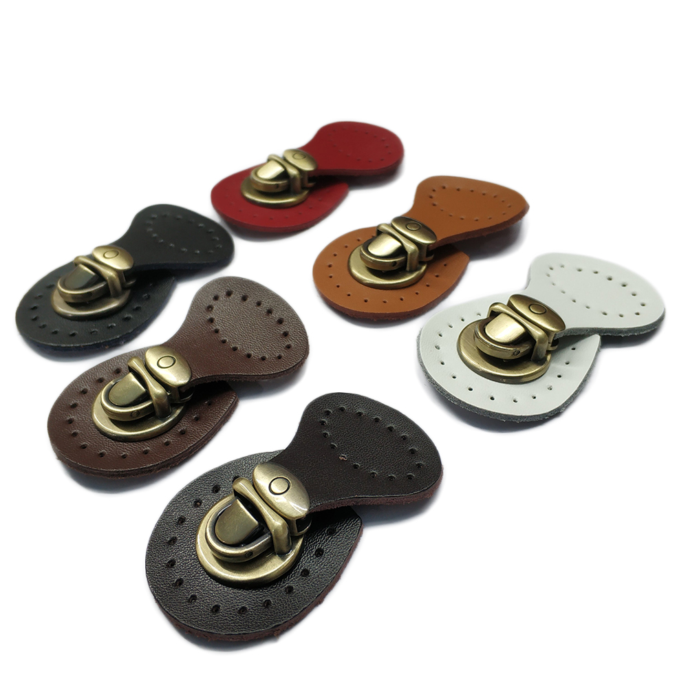Bag Buttons Genuine Leather Hasp Bags Buckle Handmade Wallet Card Pack Buckles with Holes for DIY Handbag Accessories & Parts