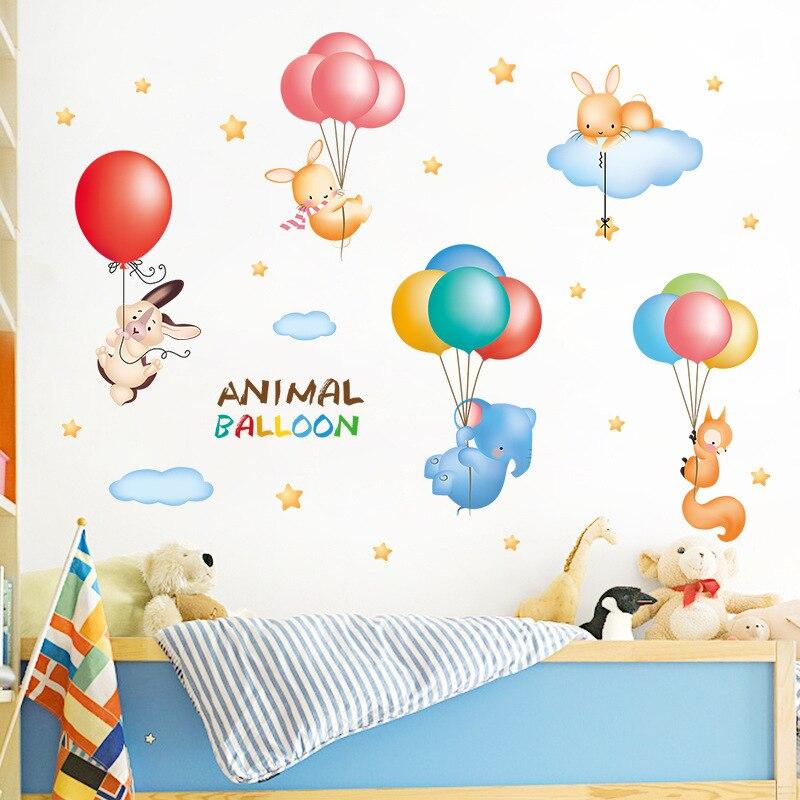 Animal balloon cartoon wall sticker for kids rooms cute elephant fox rabbit star clouds decoration decal vinyl diy wallpaper
