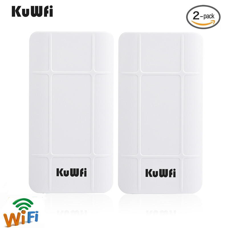 KuWFi 2-Pack 300Mbps Wireless Outdoor CPE Kit Indoor&Outdoor Point-to-Point Wireless Bridge/CPE Supports 2KM  Distance