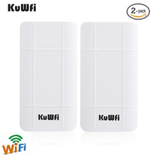KuWFi 2-Pack 300Mbps Wireless outdoor CPE Kit Indoor&Outdoor Point-to-Point wireless Bridge/CPE Supports 2KM  distance huawei bm 635 indoor cpe wimax router supports web ui configuration tool