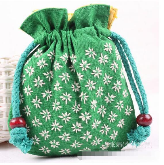 Women Female Girl Lovely Cloth Art Canvas Small Drawstring Mini Purses Phone Pouch Bag