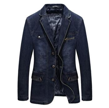 L--3XL Bigger Size Denim Blazer Men Casual Suit Jacket High Quality Spring Autumn Men's Top Clothing blazer hombre