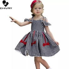 Chivry 2019 Gilrs Plaid Off Shoulder Sleeveless Dress Cute Bowknot Summer Children Wedding Party Dresses Vestidos Clothes