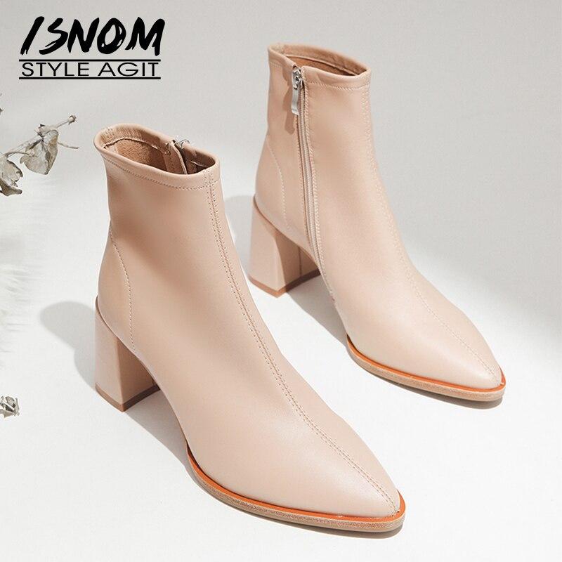 Ayakk.'ten Ayak Bileği Çizmeler'de ISNOM Koyun Derisi Çizmeler Kadın Ayak Bileği Patik Sivri Burun moda ayakkabılar Kadın Zip Yüksek Topuklu parti ayakkabıları Bayanlar Sonbahar Siyah 2019'da  Grup 1