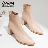 ISNOM bottes en peau de mouton femmes bottines bout pointu chaussures de mode femme Zip talons hauts chaussures de fête dames hiver noir 2020