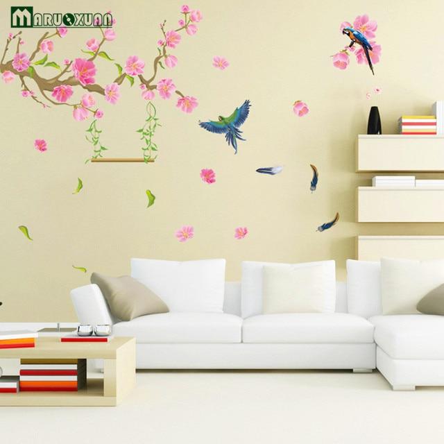 Fantastisch YunXi Frühjahr Pfirsich Papagei Aufkleber Wohnzimmer Schlafzimmer Flur Hintergrund  Dekoration PVC Wandaufkleber 150*130