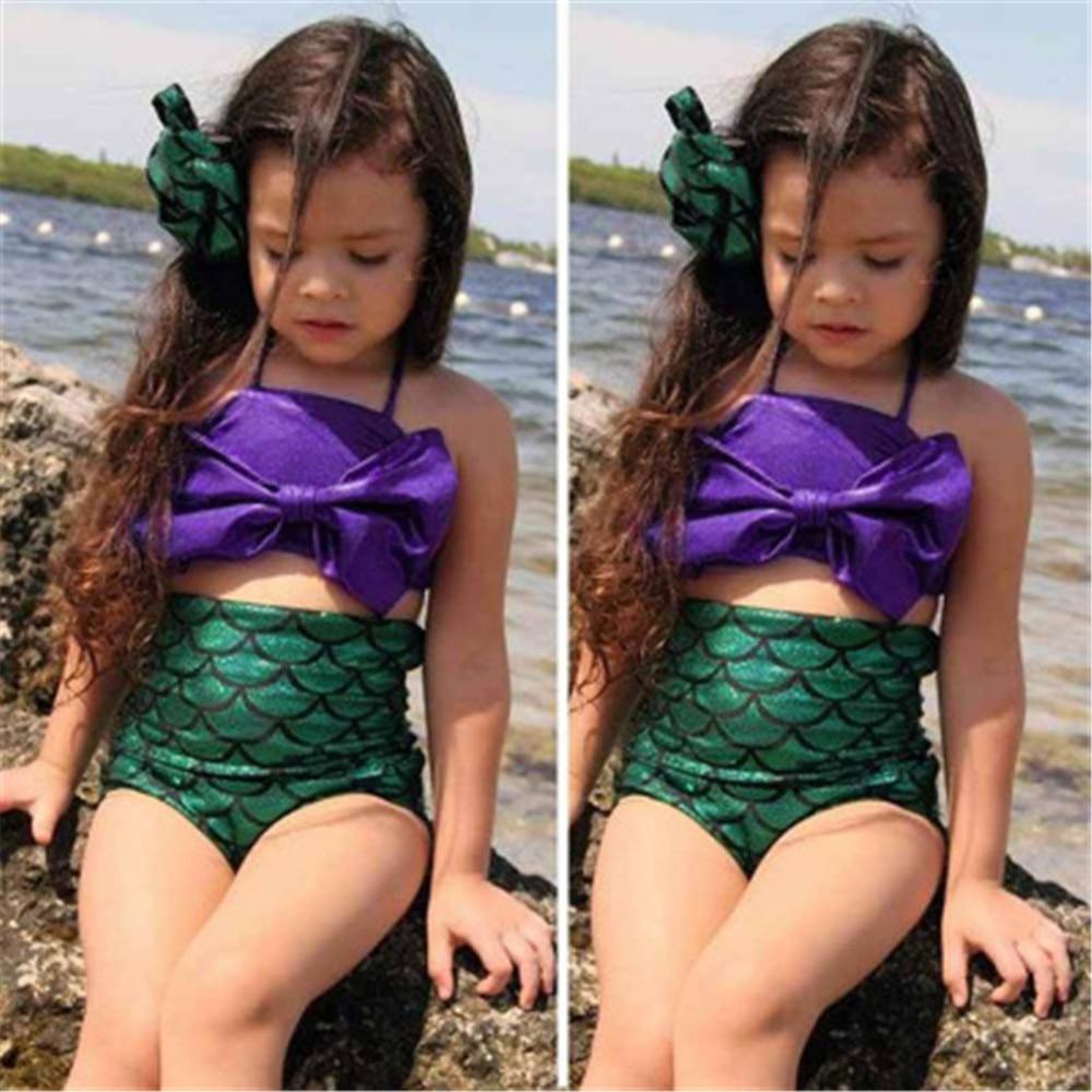 children swimwear girls baby kids biquini infantil sunny swimsuit bikini girl summer bathing suit Mermaid swimwear costume
