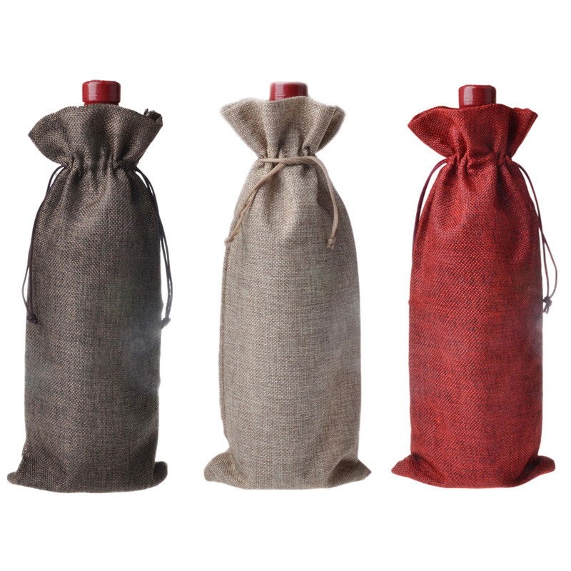 16*36cm Jute Linen Wine Bottle Bags Weddings Holidays Party Champagne Bottle Covers Linen Gift Pouches Wine Package Bags S35
