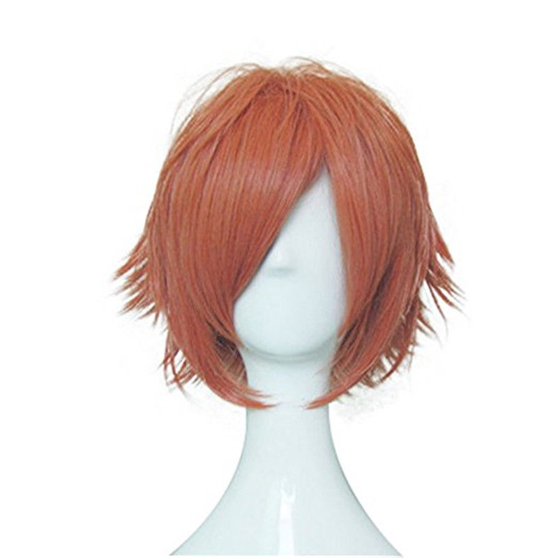 ccutoo 30cm Short Orange Mix Peluca sintética corta Cabello Ouran High School Host Club Hikaru Hitachiin Kaoru Hitachiin Cosplay peluca