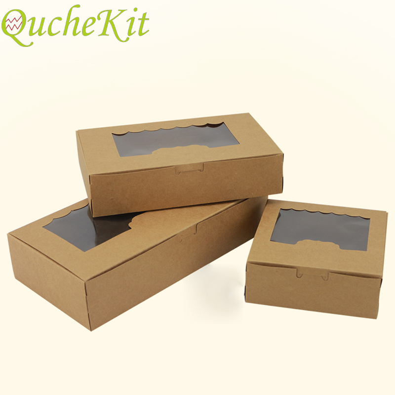 10pcs With Clear Window Kraft Paper Packaging Box Cake Box For Egg Tart Cupcake Wedding Home Party Supplies Candy Gift Boxes