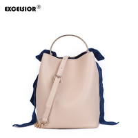 EXCELSIOR Fashionable Casual Bucket Bag PU Leather Black Women's Bag High Quality Composite Bag with Velvet Ribbons on the Strap