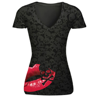 Summer New Sexy Lips Skull 3D Print Womens Shirts Short Sleeve V Neck T Shirt Black