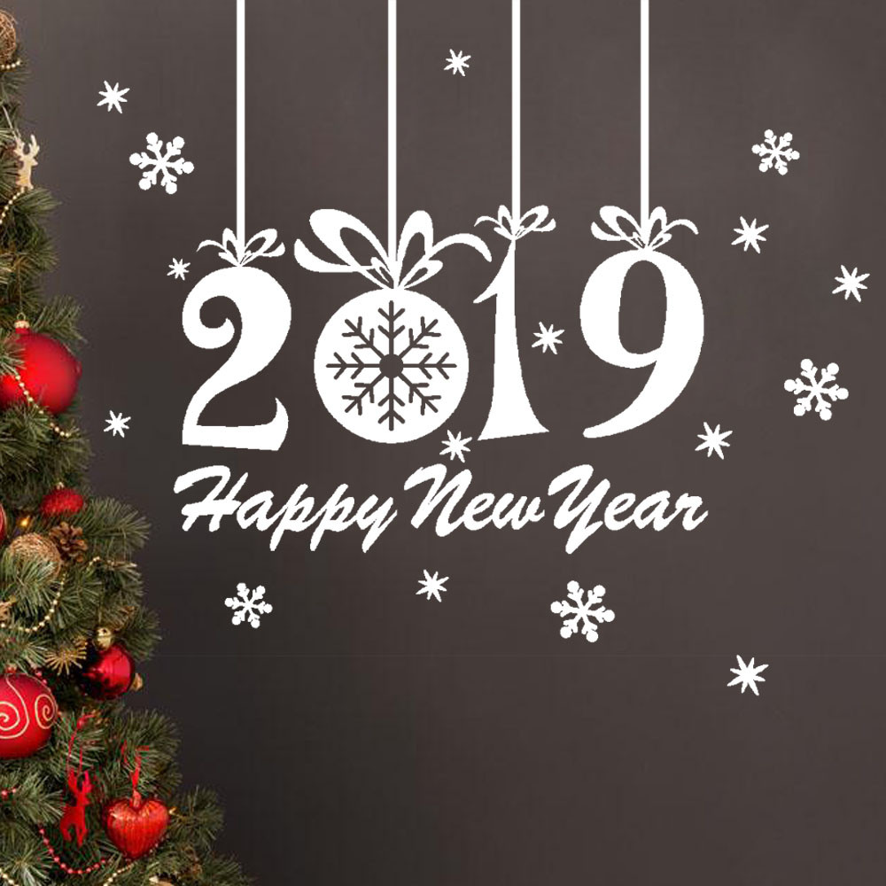 Snowflake wall stickers happy new year decoration 2019 ...