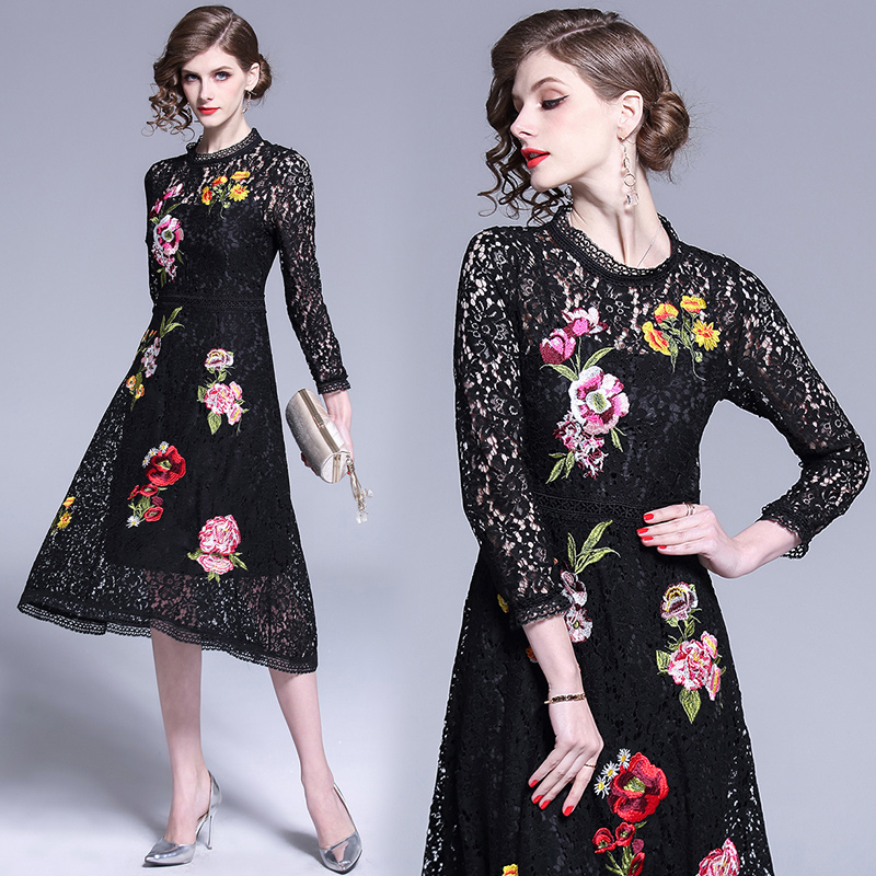 Merchall Women Lace Dress Spring Autumn Elegant Hollow Out Flower Embroidered Dresses Party Ropa Mujer 2019 Vestidos De Festa in Dresses from Women 39 s Clothing