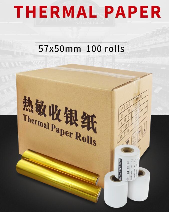100 Rolls Thermal Cash Paper 57 X 50mm 58mm Pos Printer Register Receipt Paper