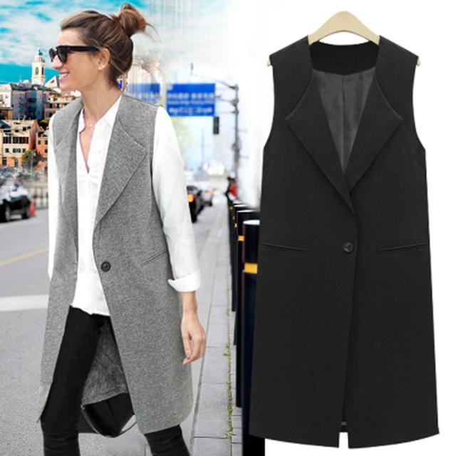 Women vest veste femme colete feminino long waistcoat sleeveless jacket causal solid Thin outwear ladies Plus size M-5XL 6XL