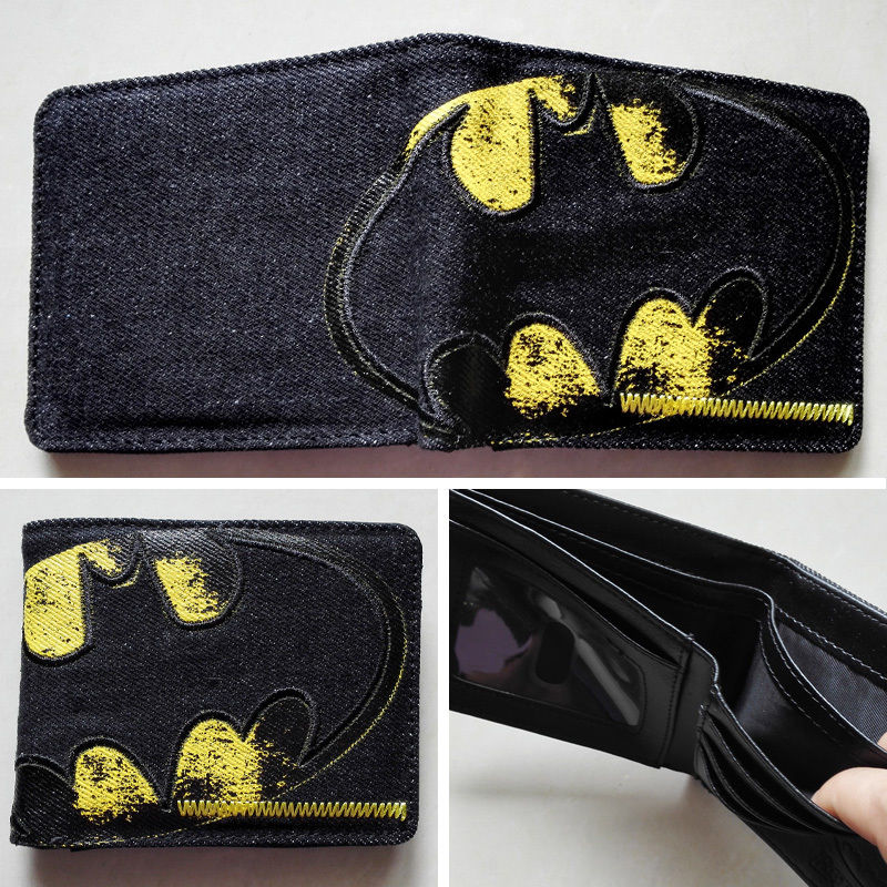 2018 DC Comics Batman Bat Logo wallets Canvas Black Leather Man women New W122 брелок dc comics batman logo