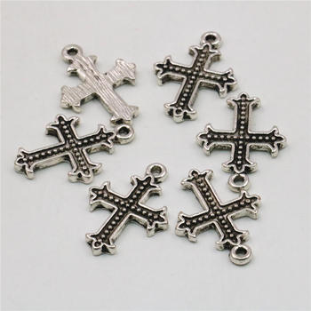 Unique Novelty Jewelry Findings 10PCS Lucky Cross Kaddish Accessories Copper Metal DIY Loose Pendant Necklace 17x24mm image
