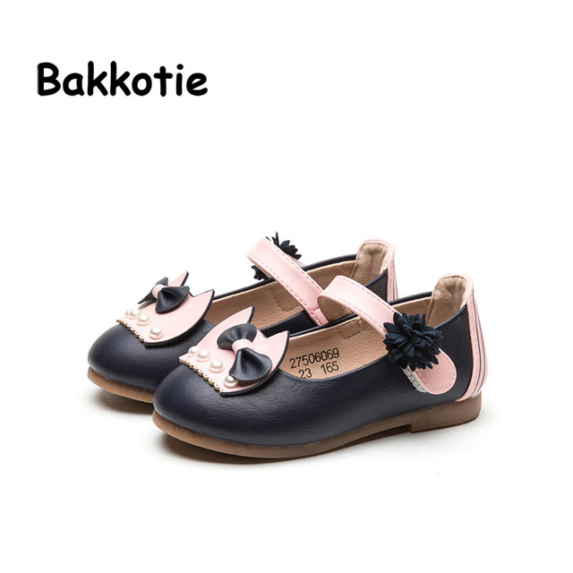 Mary Jane Bakkotie 2017 Criança Primavera Bebê Moda PU Flats de Couro Crianças Princesa Sapatos Criança Marca Pérola flor Menina Conforto